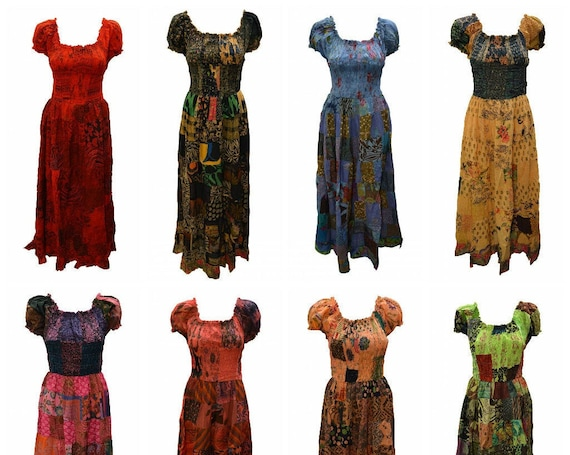 100% Cotton Gypsy Dress Boho Vintage Style Patchwork Elasticated Short Sleeve Maxi Free size up to 16 P9-P16