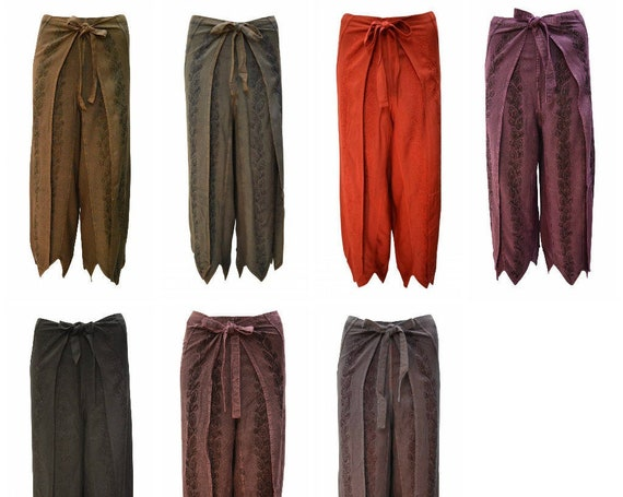 Womens Ladies Overlay Wrap around Embroidered Wide Leg Trousers Sarong Pants Freesize 10 Up To 18