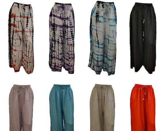 Womens Boho Hippie Lounge Wear Harem Palazzo Wide Leg Holiday Yoga Pants Trousers Freesize 12 - 20