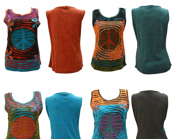 100% Cotton Recycled Tank Top Boho Peace Upcycled Patchwork Hippie Vest Size M, L, XL