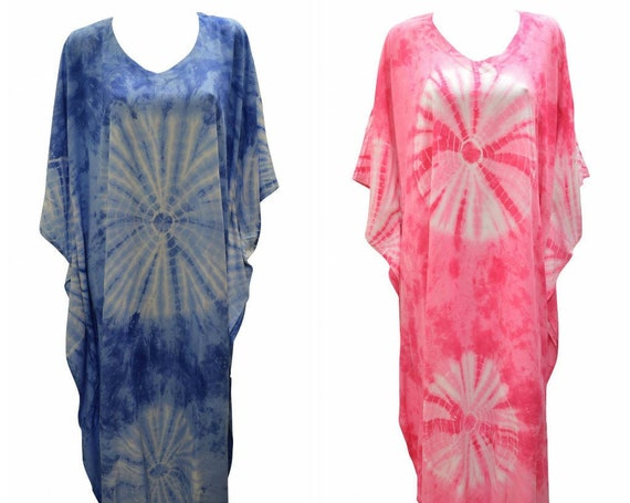 Womens Plus Size Kaftan Handmade Boho Tie-dye Maxi Batwing Loungewear Free Size Up To 28