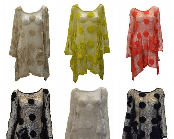 Boho Hippie Lagenlook Dress Vintage Style Crochet Knit Dot Shrug Cover up 48'' Free size up to size 24