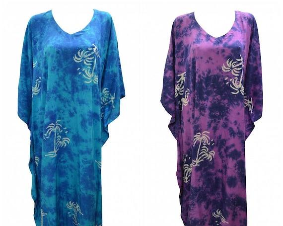 Womens Plus Size Kaftan Handmade Palm Tree Print Maxi Boho Batwing Loungewear Free Size Up To 28