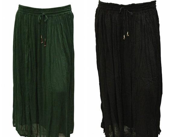 Womens Boho Crinkle Maxi Drawstring Hippie Gypsy Skirt Freesize Up To 14