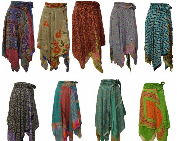 Upcycled Wrap- around Skirt Reversible Vintage Patchwork handkerchief Hem Boho Midi Free Size up to size 18 P192- P200