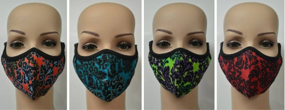 Handmade Organic Cotton Recycled Reusable Face Masks Retro Floral Print Sustainable Fabric Reversible Covering