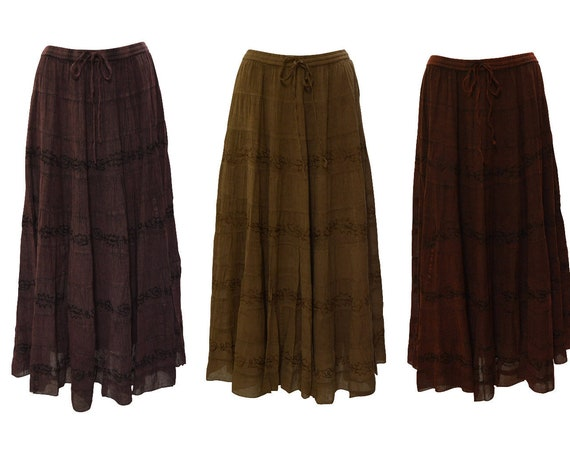 Womens Ladies Boho Floral Tone To Tone Embroidery Tired Gypsy Skirt Free size Up To 16
