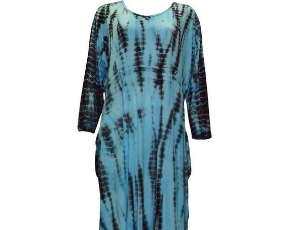 Plus size tie dye boho hanky hem drape tunic dress Blue