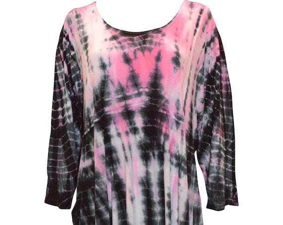 Plus size tie dye boho hanky hem drape tunic dress pink