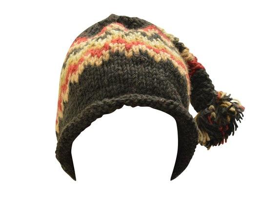 Handmade knit 100% wool unisex adults  beanie hat tassel warm fleece lined boho hippie winter cap p5