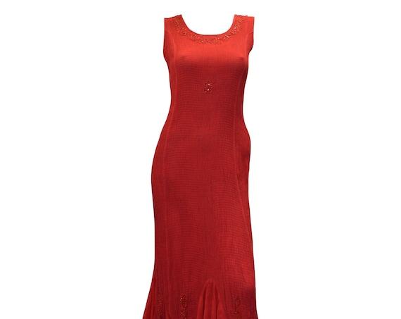Boho hippie bead embellished elasticated ruffled hem sleeveless dress sizes 8 - 18 S/M Pink