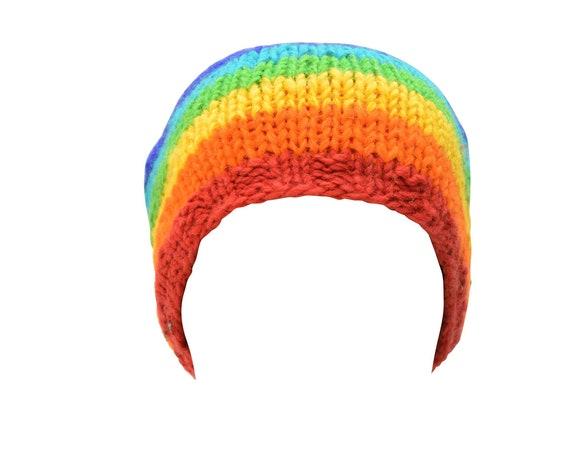 Handmade knit 100% wool unisex adults  beanie Rainbow hat warm fleece lined boho hippie winter cap p8