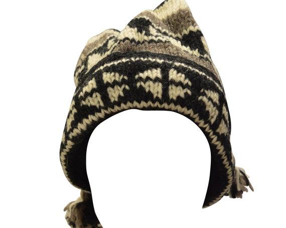 Handmade knit 100% wool unisex adults  beanie multi tassel warm fleece lined boho hippie winter hat p3