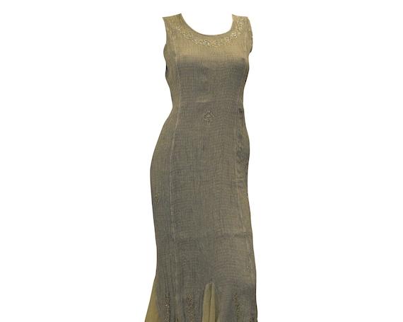 Boho hippie bead embellished elasticated ruffled hem sleeveless dress sizes 8 - 18 M/L Olive Green