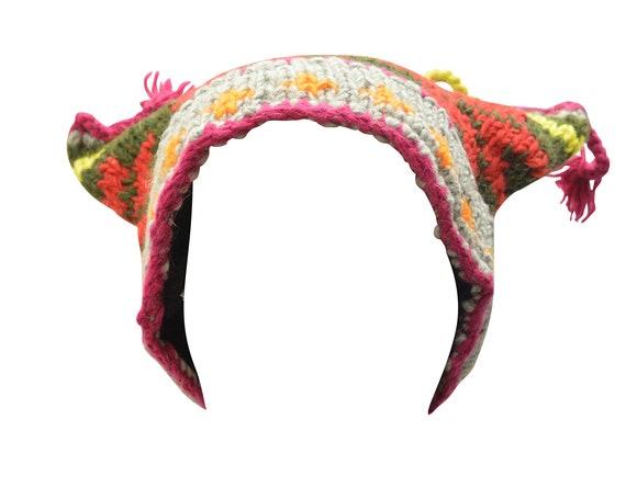 Handmade Knit 100% wool Boho Beanie Multi Tassel Warm Fleece Lined  Hippie Winter Hat P7