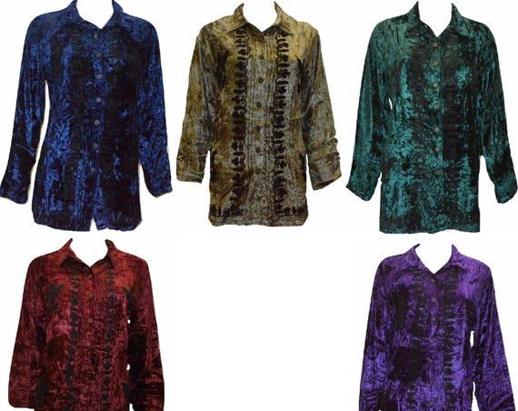 Vintage inspired crushed velvet embroidered side split button down shirt