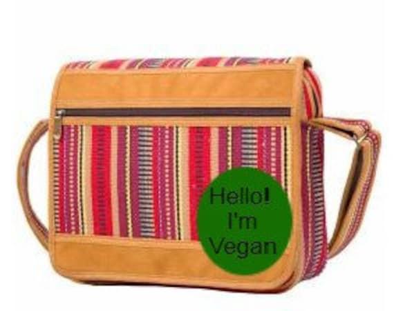 Boho Hippie Vegan Multiple Pockets Shoulder Bag Stripes Cross Body Bag Satchel Multi