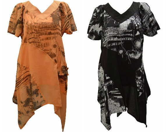 100% Cotton Mesh Dress Handkerchief Abstract Print Bell Sleeve Top Size 18, 22