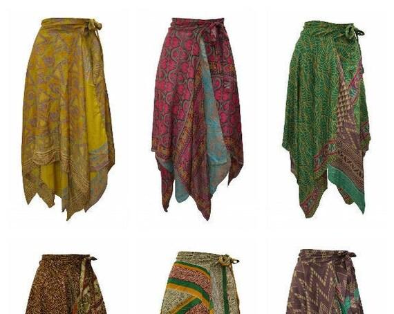 Upcycled Wrap- around Skirt Reversible Vintage Patchwork handkerchief Hem Boho Midi Free Size up to size 18 P234- P242