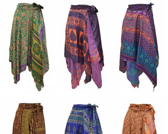 Upcycled Wrap- around Skirt Reversible Vintage Patchwork handkerchief Hem Boho Midi Free Size up to size 18 P243- P251