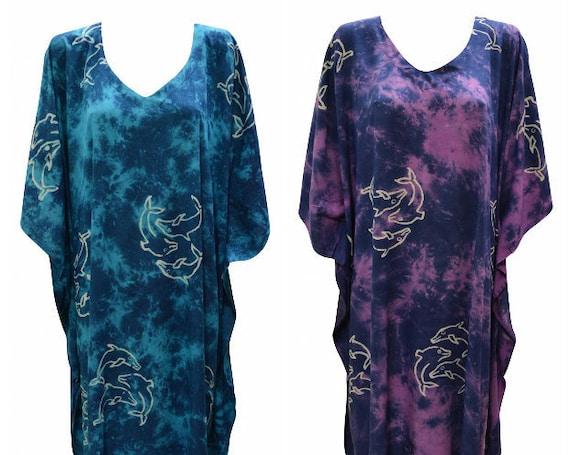 Womens Plus Size Kaftan Handmade Dolphin Print Maxi Boho Batwing Loungewear Free Size Up To 28