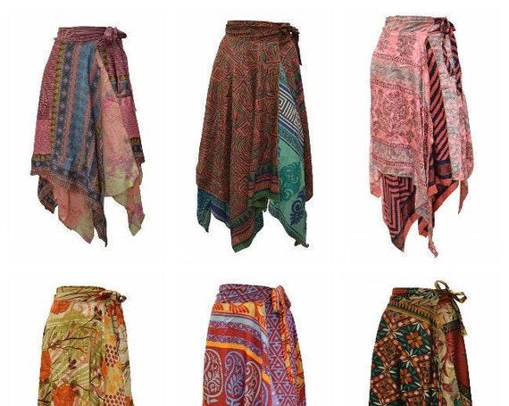 Upcycled Wrap- around Skirt Reversible Vintage Patchwork handkerchief Hem Boho Midi Free Size up to size 18 P225- P233