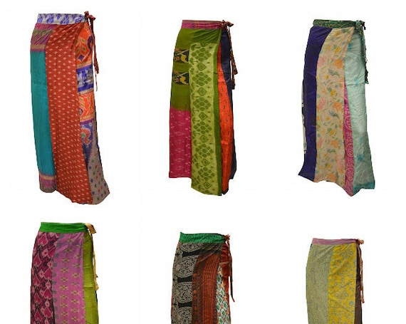 Boho Upcycled Wrap Around Skirt Funky Patchwork Hippie Maxi Sarong Free Size up to 18 P198- P206
