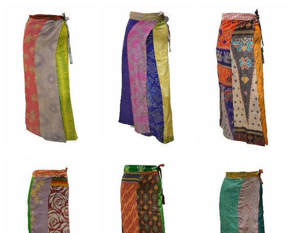 Boho Upcycled Wrap Around Skirt Funky Patchwork Hippie Maxi Sarong Free Size up to 18 P189- P197