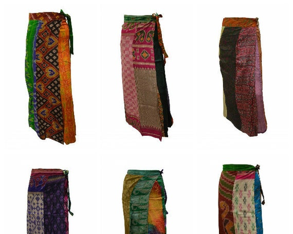 Boho Upcycled Wrap Around Skirt Funky Patchwork Hippie Maxi Sarong Free Size up to 18 P180- P188