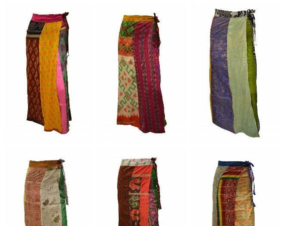 Boho Upcycled Wrap Around Skirt Funky Patchwork Hippie Maxi Sarong Free Size up to 18 P216- P224