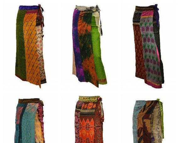 Boho Upcycled Wrap Around Skirt Funky Patchwork Hippie Maxi Sarong Free Size up to 18 P171- P179