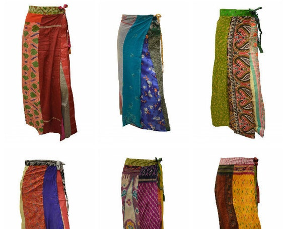 Boho Upcycled Wrap Around Skirt Funky Patchwork Hippie Maxi Sarong Free Size up to 18 P207- P215