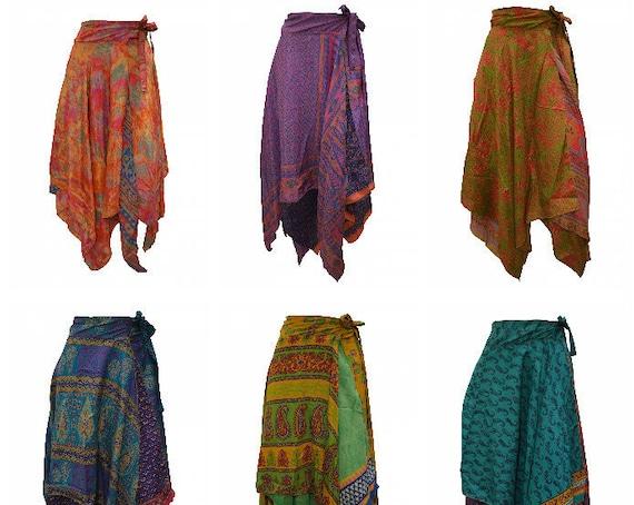 Upcycled Wrap- around Skirt Reversible Vintage Patchwork handkerchief Hem Boho Midi Free Size up to size 18 P207- P215