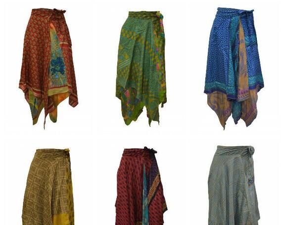 Upcycled Wrap- around Skirt Reversible Vintage Patchwork handkerchief Hem Boho Midi Free Size up to size 18 P216- P224