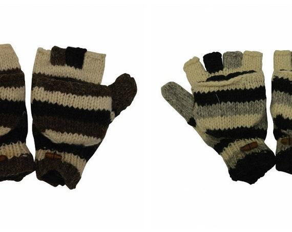 100% Wool Winter Knit boho Fingerless Mittens Fold back Covers Fleece Line Warm Cosy Gloves