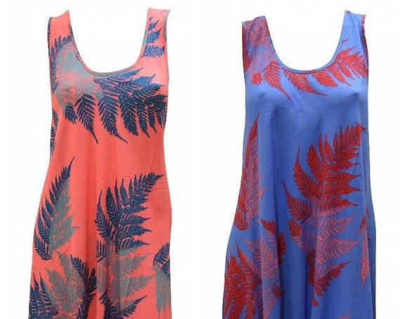 Womens Swing Dress Palm Leaf Print High- Low Umbrella Pocket Shift Free Size Up to 18