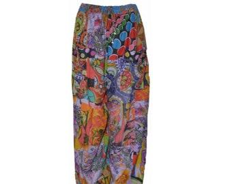 2e217e0aaf Plus size hippie boho retro floral patchwork harem pant trouser blue mix 18  to 24