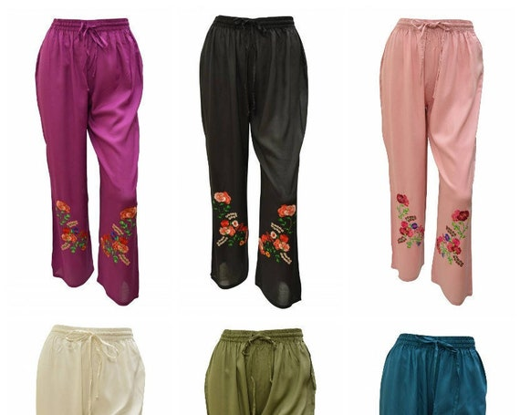Womens Boho Trousers Embroidered floral Lounge wear Palazzo Pants M/L XL/XXL