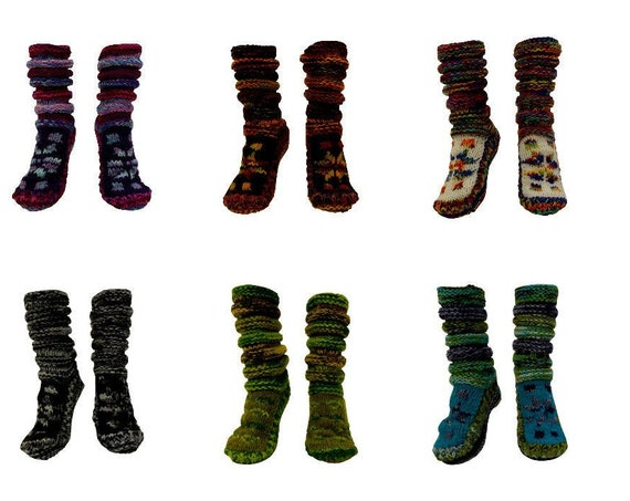 Handmade 100% Wool Boho Chunky Winter Knit Unisex Hippie Socks Cosy Warm Fleece Lining Up To UK Size 9