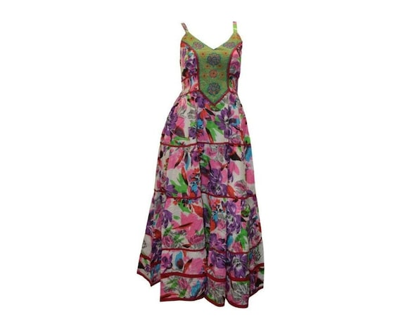 Cotton boho hippie sleeveless floral vintage style embroidered panelled maxi dress free size up to size 14 P20