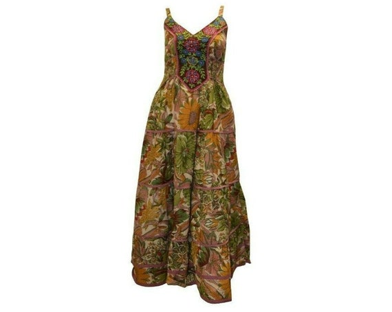Cotton boho hippie sleeveless floral vintage style embroidered panelled maxi dress free size up to size 14 P10