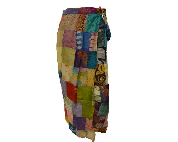 Boho hippie vintage style up-cycled reversible abstract patchwork maxi wrap skirt free size up to size 18 p268