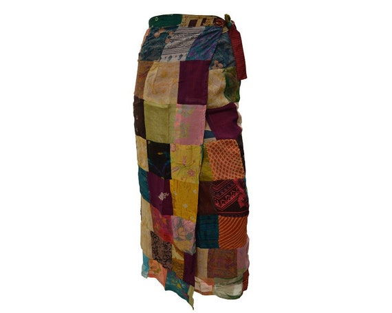 Boho hippie vintage style up-cycled reversible abstract patchwork maxi wrap skirt free size up to size 18 p269