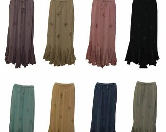 bc126385f1 Plus size boho hippie embroidered scalloped beaded hem gypsy skirt size  12-24