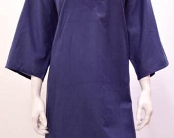 0364e9704e7f0 Plus size Boho Hippy Embroidered Cotton Kaftan Tunic Dress Navy 18 20 22 24