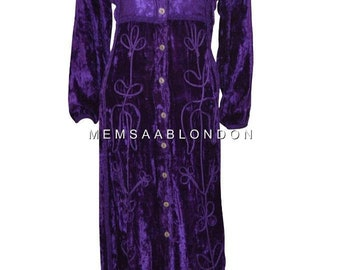 47351336718f Blueport London gothic victorian velvet embroidered floral high buttoned  long dress purple size 8 - 14