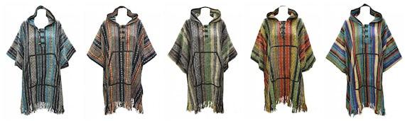 Handmade 100% Cotton Plus Size Unisex Bohemian Hood Poncho Ethnic Blanket Style Hippie Free Size