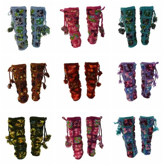 Winter Hand Knit Crochet 100% Wool Chunky Floral Tassel Leg Warmers Cosy Warm Fleece Lined