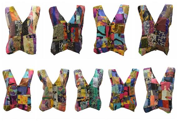 Handmade Upcycled Waistcoats Funky Boho Retro Patchwork Vest Size 14 P52- P60