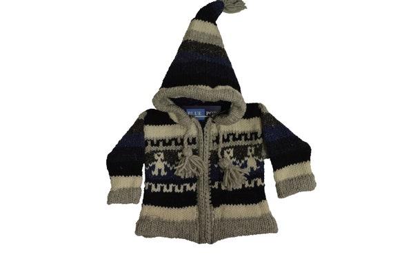Kids baby boho hippie pixie hooded nomad aztec ethnic 100% wool zip fleece coat jacket p25